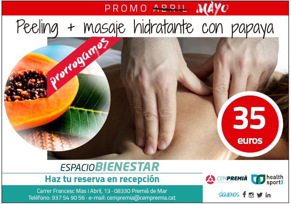 peeling + masaje hidratante con papaya 35 euros